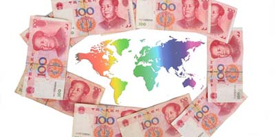Chinese currency and world map
