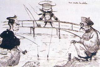 Caricature française (début XXème) : Chine et Japon tentant de